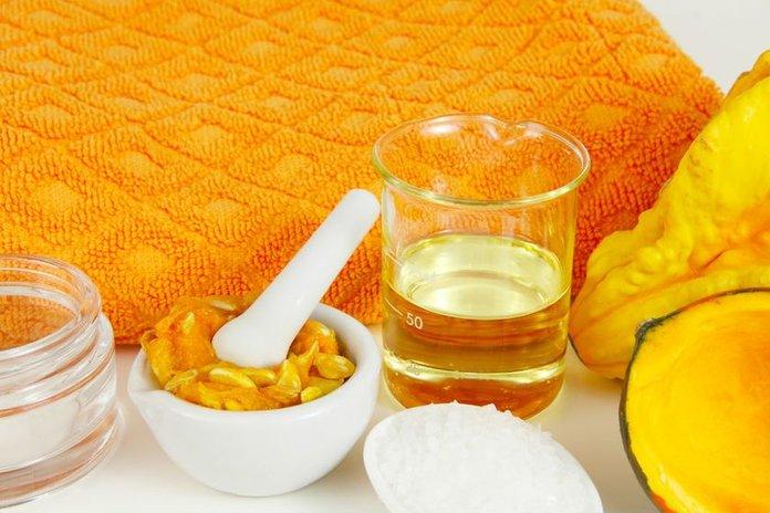 Ингредиенты для приготовления маски для кожи из тыквы