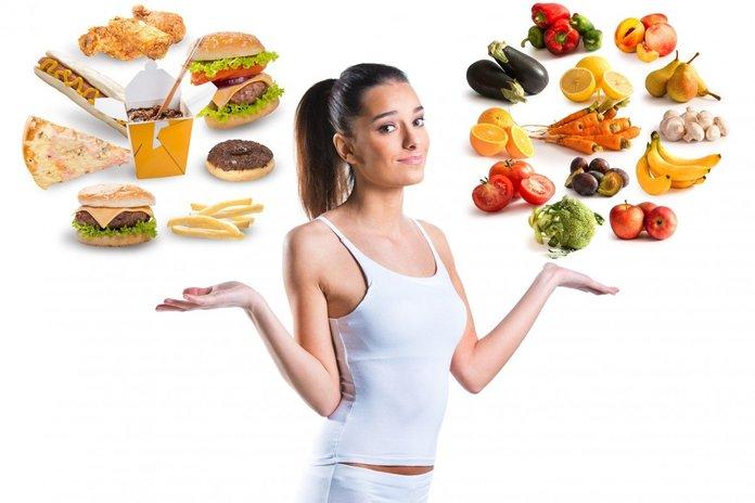 Выбор между здоровой пищей и фастфудом