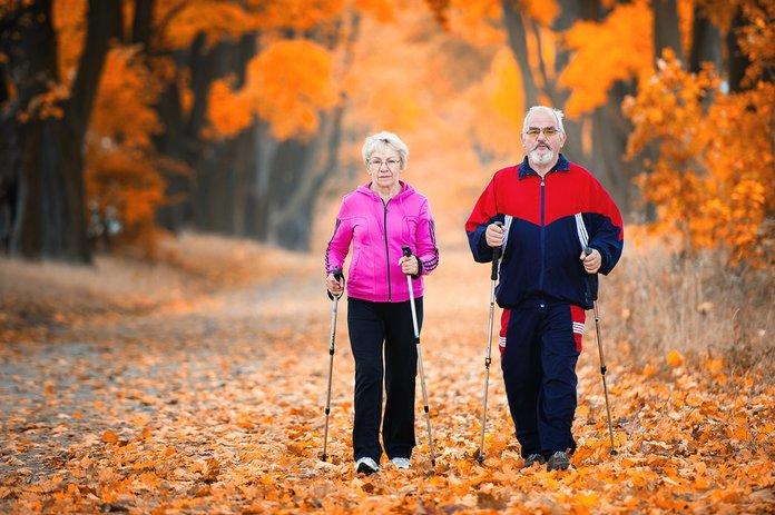 Пешая прогулка двух пожилых людей